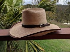 552490bfd441e Oak 57 Cattlemans Crown 4 inch brim Palm Leaf Hat made by Cannard Hats