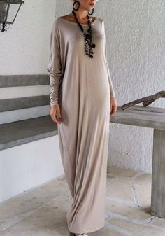 Grey Plain Irregular Draped Long Sleeve Islamic Muslim Abaya Fashion Maxi Dress