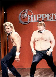 Patrick Swayze and Chris Farley at Chippendale Auditions  #SaturdayNightLive 1990