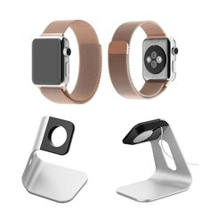 Apple Watch Band, Milanese Loop Stainless Steel + Aluminum Charging Stand