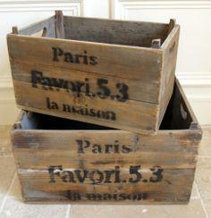 Set of vintage rustic style wooden Wine crates boxes display Paris La Maison
