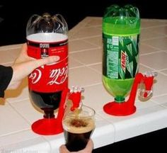 Convert pop bottles into jugs with spouts. Way easier for parties.