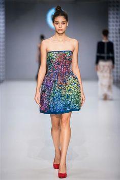 full color blueprint dress / Jana Gavalcova / True Blue / CENTRAL EUROPEAN SHOWS  / BUDAPEST Indigo, Strapless Dress, Formal Dresses, Budapest, Blue, Color, Fashion, Strapless Gown, Colour