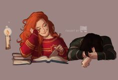 """Gonna post my Potter Week drawings here! no.1 """"best friends"""" - Lily and Snape"""