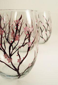cherry blossom glasses. i wanna make these!!!