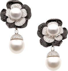 Diamond, Colored Diamond, South Sea Cultured Pearl, White Gold Earrings.