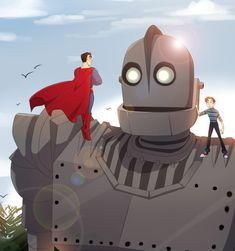 Iron Giant and Hogarth meet Superman OMG This is awesome!!! These guys would make a good team!!1 :D