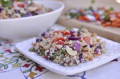 Thai Peanut Quinoa Salad - I want to try this but without the peanuts. Use soy nut butter instead and sprinkle toasted sunflower seeds on top of salad instead of cashews.