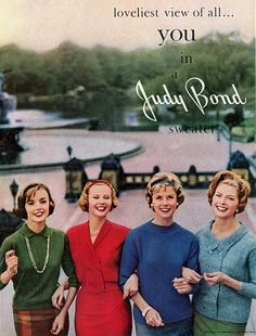 Late 50s knit sweaters top shirts red green blue color photo print ad vintage fashion Judy Bond 1958 | Flickr - Photo Sharing!