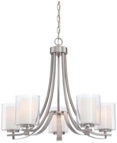 """Five Light Single Tier Chandeliers from the Parsons Studio CollectionFeatures:  Designed to cast light in an upward direction Maximum Height: 97"""" the maximum height the product needs to hang using included chains or rods Capable of being dimmed - allowing you to set your desired illumination levels when used with dimmable bulbs Comes with clear outer and etched white inner glass shade Ultra secure mounting assembly for quick and easy installation Bulbs not included with this model…"""