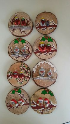 Wood Ornaments, Diy Christmas Ornaments, Diy Christmas Gifts, Christmas Projects, Christmas Decorations, Christmas Ideas, Christmas Pebble Art, Christmas Rock, Christmas Humor