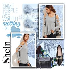 """""""She In: Heather Grey Cold Sleeve T-shirt Contest"""" by rboowybe ❤ liked on Polyvore featuring Disney and Kate Spade"""