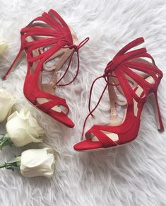 Red cut out heels