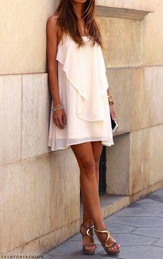 high heels blouse nude dress