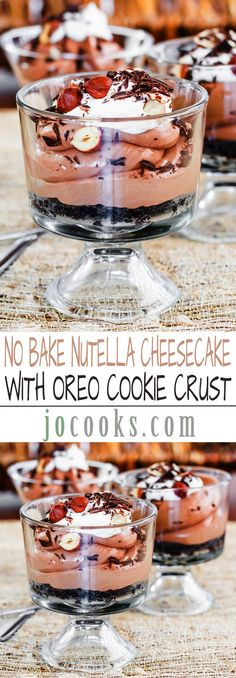 No Bake Nutella Cheesecake with Oreo Cookie Crust