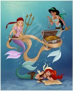 Jasmine, Ariel, and Rapunzel