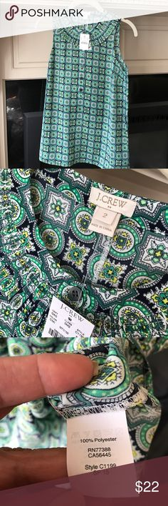 NWT JCrew sleeveless shirt.- navy- green Dress it up or down- this is a smart shirt for summer!! J. Crew Tops