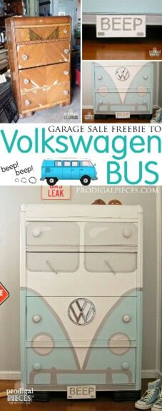 Master Bedroom Decorating Concepts - DIY Crown Molding Set Up A Garage Sale Freebie Art Deco Water Dresser Gets A Sweet Volkswagen Bus Makeover By Prodigal Pieces Refurbished Furniture, Repurposed Furniture, Furniture Makeover, Painted Furniture, Stool Makeover, Refurbished Bookcase, Diy Dresser Makeover, Dresser Ideas, Furniture Projects
