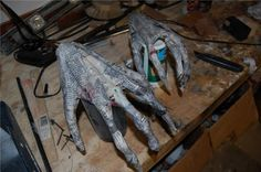 "HANDS = I did this with just rolled up newspaper & masking tape - I'm going to paint them a ""flesh"" color and hope it gives the right illusion! (Halloween 2012) - I wouldn't make them in this fashion again - Far easier ways to make these!"