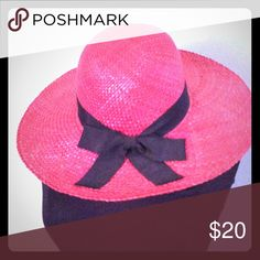 Pink hat with cute bow New pink sun hat, barley worn and very eye catching. Best to combine with bundle Accessories Hats