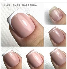french nails pink and white how to do in gel polish / step by step tutorial French Manicure Nails, French Nails, Manicure And Pedicure, Diy Nails, Nail Drawing, Nail Techniques, French Nail Designs, Nail Art Rhinestones, Minimalist Nails
