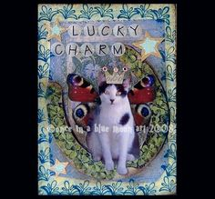 LUCKY CHARM Cat  Altered Art Card Collage Aceo by LisasMenagerie