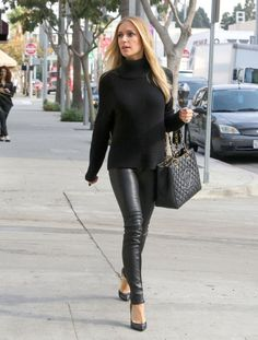 Kristin Cavallari wearing Chinese Laundry Copertina Pumps in Black Chanel Caviar GST Shopping Bag in Black