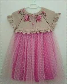 Discover thousands of images about Beautiful knitting with crochet edges!Discover thousands of images about Hand knitted dress for baby girl Crochet Dress Girl, Crochet Baby Clothes, Crochet Girls, Baby Tulle Dress, Little Girl Dresses, Toddler Dress, Toddler Outfits, Kids Outfits, Baby Dress Patterns