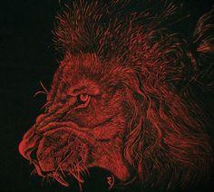 """Red lion"" Paulina Szczepaniak, 2015 Painting on fabric... Textile paint :)  #red #lion   #roar  #painting #fabric"