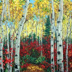 Utah Morning - Aspen Paintings and Birch tree art by the Aspen Artist, painting by artist Jennifer Vranes