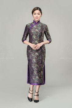 Ruyi & chrysanthemum patterns long cheongsam dress