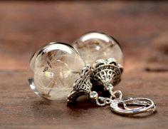 Echte  Pusteblumen silber Ohrringe e158 von VIVIANNA SCHMUCK - natürlich.schön.edel auf DaWanda.com