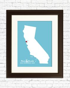 engagement print  customize California state by MyPlaceintheworld, $22.00