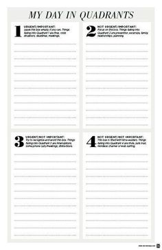 Life coaching - Free My Day In Quadrants To Do List Printable Planning And Organizing, Planner Organization, To Do Lists Printable, Printables, Free Printable, Printable Planner, School Leadership, Life Coaching Tools, Leader In Me