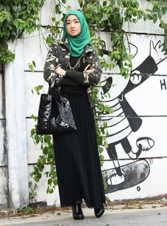 Military jacket, black long dress, bao bao bag, ankle boots, shawl