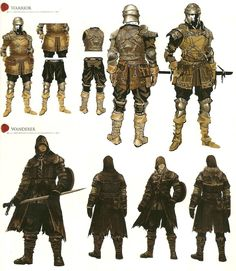 Various outfits of adventures from Hamdreign and Librarion's territories respectively. Librarion has need of the cover of the dark forests and Hamdreign has need of tough leather for the cold. Fantasy Armor, Medieval Fantasy, Dark Fantasy, Fantasy Inspiration, Character Design Inspiration, Armor Concept, Concept Art, Character Concept, Character Art