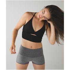 lululemon Twist Bra Long Line ($52) ❤ liked on Polyvore featuring activewear, sports bras, black, black bra top, black sports bra, lululemon, yoga bra top и yoga sports bra