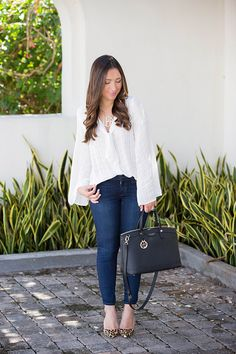 White bell sleeve blouse with leopard heels