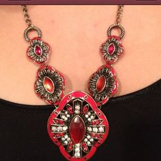 Moroccan looking necklace w/ earrings. 7/1 Gorgeous statement necklace w/ earrings. Was very popular and found one more. You can buy this listing. Free gift always. Red as seen. Moroccan looking. My Moroccan family thought it came from there. Essential Style host pick by Andrea  Jewelry Earrings