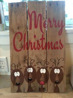 Merry Christmas Reindeer wood pallet sign