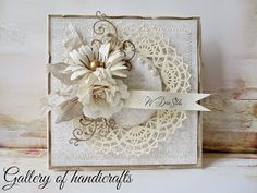 Gallery of handicrafts: Wedding Cards Handmade, Beautiful Handmade Cards, Greeting Cards Handmade, Paper Cards, Diy Cards, Card Making Inspiration, Making Ideas, Shabby Chic Cards, Wedding Anniversary Cards