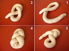 Résultat d'images pour lussekatter shapes No Carb Bread, No Yeast Bread, Pan Comido, Bread Recipes, Cooking Recipes, Decoration Patisserie, Bread Art, Bread Shaping, Braided Bread
