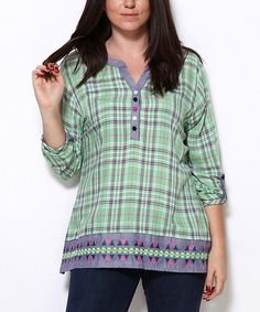 Look at this Zer Otantik Green Plaid Chiffon Notch Neck Top - Plus on #zulily today!