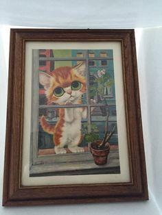 Vintage gros aux yeux de chat Print / / pitié Kitty by Gig / / 1960 Cat Print / / Cat dans la fenêtre