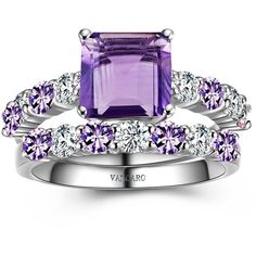 Princess Cut Amethyst Ring for Women Purple Engagement Ring Set ($149) ❤ liked on Polyvore featuring jewelry, rings, princess cut ring, purple rings, purple jewellery, engagement rings and amethyst jewellery