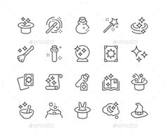 Line Magic Icons. Download here: https://graphicriver.net/item/line-magic-icons/17260807?ref=ksioks