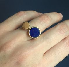 Modernist Lapis Lazuli and 14k Gold Minimalist Sculptural Ring by OKOgallery on Etsy https://www.etsy.com/listing/496375780/modernist-lapis-lazuli-and-14k-gold