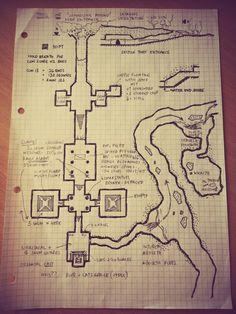 Map on grid underground dungeon