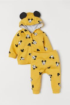 Hooded Jacket and Pants - Yellow melange/Mickey Mouse - | H&M US 1