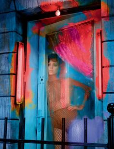 """Pink light district"""" with Matilda Dods photographied by Miles Aldridge  Dress in leather fishnet, VALENTINO. Panty, LA PERLA."""